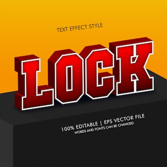Lock 3d isometric text effects