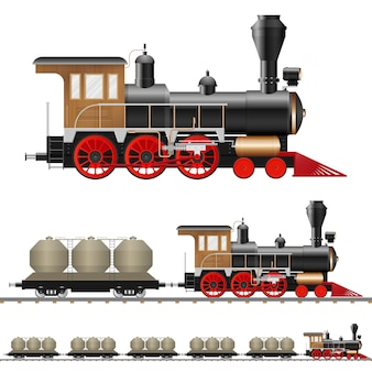 Locomotiva a vapor vintage e ilustração de vagão isolada