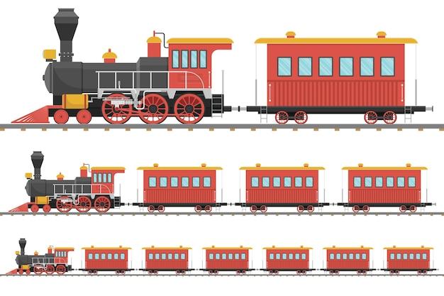 Locomotiva a vapor vintage e vagão na ferrovia