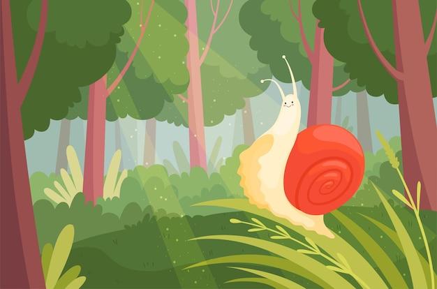 Lodo lento movendo-se na grama verde em ilustração de caracol de jardim de animais de natureza de madeira.