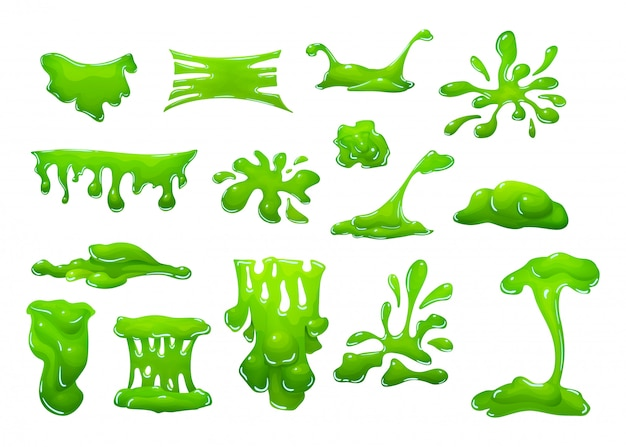 Lodo verde realista em forma de gotas pingando borrões borrões