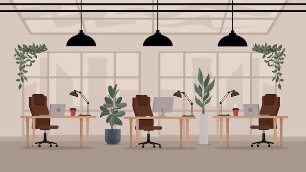 Loft moderno com espaço aberto, interior de escritório, vetor plano, local de trabalho