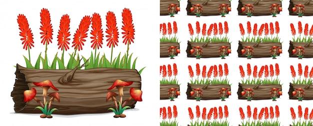Log e flores sem costura aloe vera