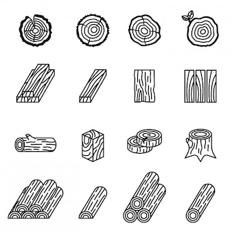 Log e madeira ícone conjunto com fundo branco.
