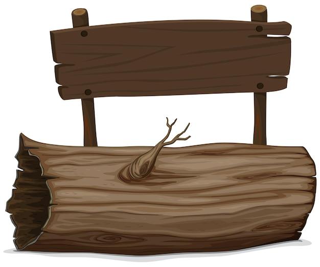 Log e placa de madeira