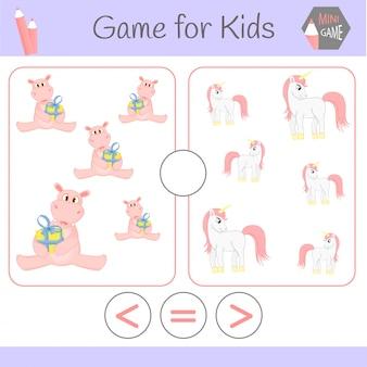 Lógica de jogo educativo para crianças pré-escolares. escolha a resposta correta. maior que, menor que ou igual a.