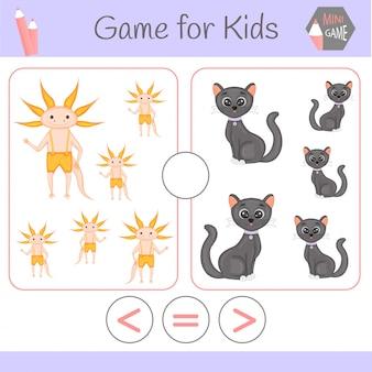 Lógica de jogo educativo para crianças pré-escolares. robôs engraçados de desenhos animados. escolha a resposta correta. maior que, menor que ou igual a