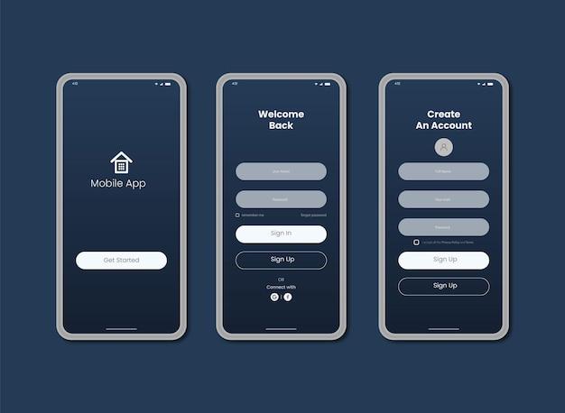 Login da interface do usuário do aplicativo móvel e design da página de inscrição