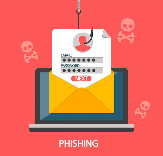 Login de phishing e senha no gancho de pesca