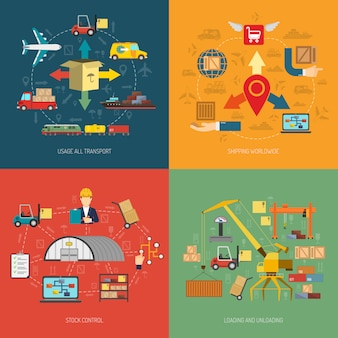 Logistic 4 flat icons square banner
