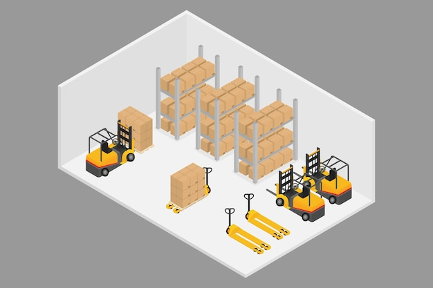 Logística 3d isométrica e armazém