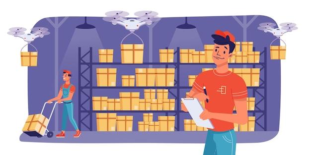 Logística de armazém e trabalhadores de armazenamento de entrega de caixa de carga vetor design plano armazém moderno