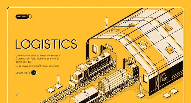 Logística de armazém, entrega de madeira ferroviária e processo de transporte