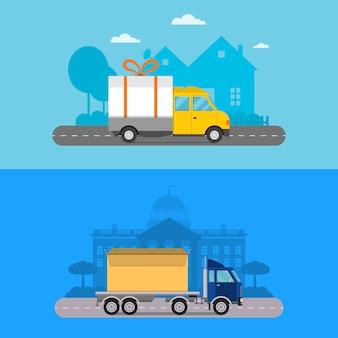 Logística de carga de transporte de entrega.