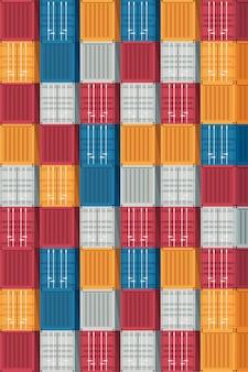 Logística de contêineres e transporte de fundo. ilustração vetorial.
