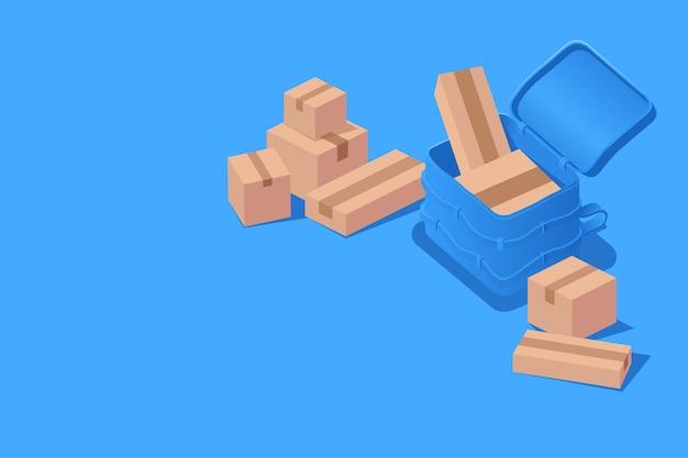 Logística de entrega do conceito com saco de correio e caixa isométrica