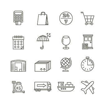 Logística de entrega entrega e ícones de linha de transporte de carga