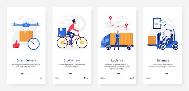 Logística de entrega, tecnologia de remessa por ilustração de vários veículos de transporte