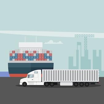 Logística de exportação no porto de carga com caminhão e navio porta-contêineres