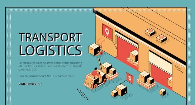 Logística de transporte, banner de web isométrica de serviço de entrega, página de destino.