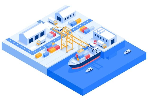 Logística de transporte de navio de carga isométrica