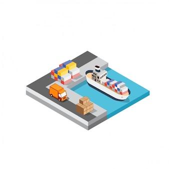 Logística de transporte de navios de carga portuária