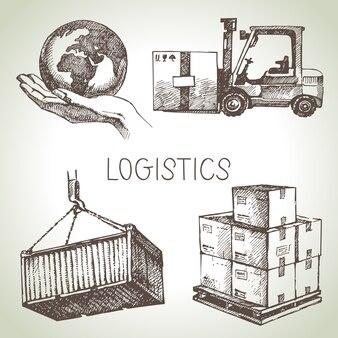 Logística desenhada à mão e conjunto de ícones de esboço de entrega
