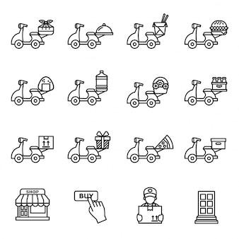 Logística e entrega ícone de scooter