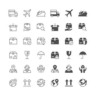 Logística e ícones de envio