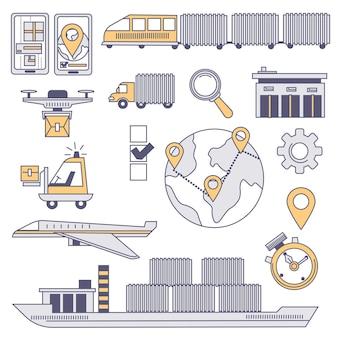 Logística em todo o mundo, ícones isolados de transporte e caixas