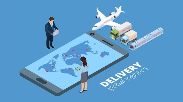Logística global de entrega. conceito de estratégia de entrega. empresários isométricos planejam transporte de ilustração vetorial online. negócio de entrega global, logística de exportação de carga de serviço
