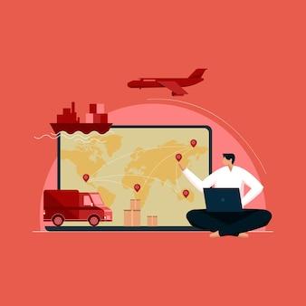 Logística global e negócios de transporte importação e exportação de rede e conceito de armazém
