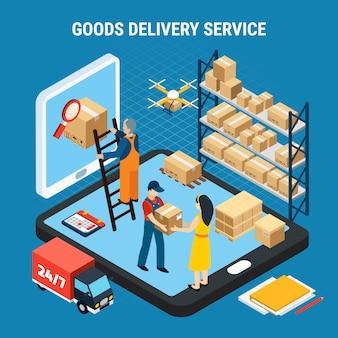 Logística isométrica com trabalhadores de serviço de entrega de mercadorias on-line na ilustração 3d azul