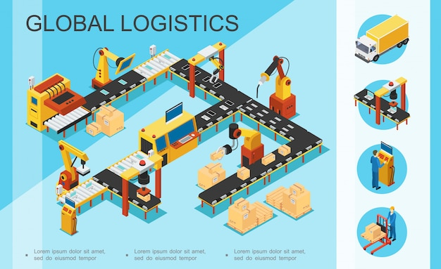 Logística isométrica e composição de armazém com caixas de linha de montagem e embalagem
