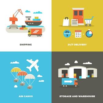 Logística mundial de transporte e armazém industrial