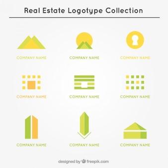 Logo collection imobiliário amarelo e verde