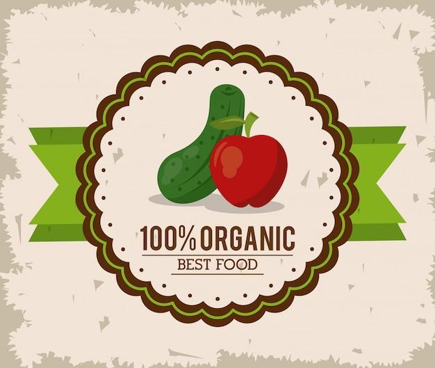 Logo colorido da melhor comida orgânica com pepino e maçã