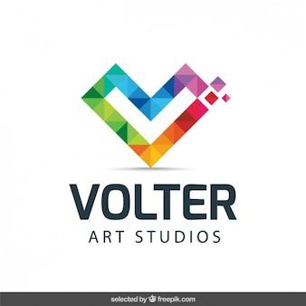 Logo com inicial feita com pixels coloridos