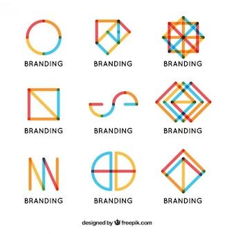 Logo composta de coleta de linhas coloridas