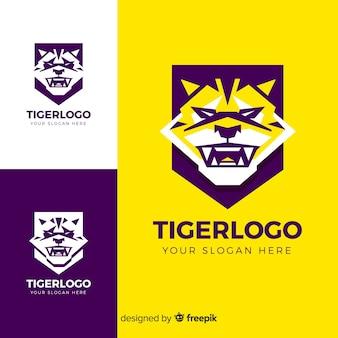 Logo de cara de tigre plana