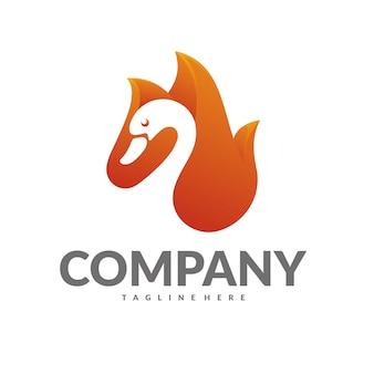 Logo de cisne de fogo