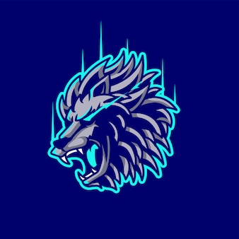 Logo de jogo de mascote de leão e esport