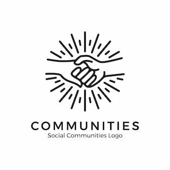 Logo de mãos dadas. logotipo da comunidade com estilo monoline