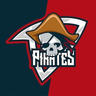 Logo de mascote de assassino de piratas de caveira