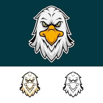 Logo de mascote de cabeça de águia com raiva