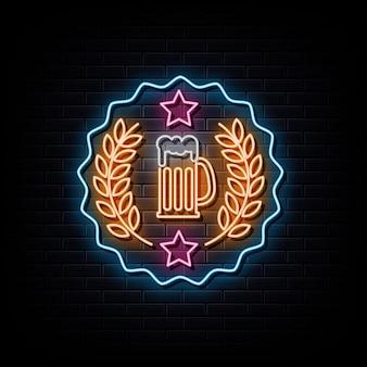 Logo de néon de cerveja símbolo de sinal de néon