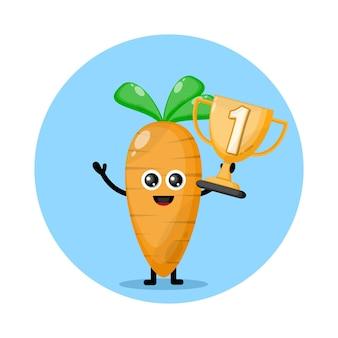 Logo de personagem fofa de troféu de cenoura