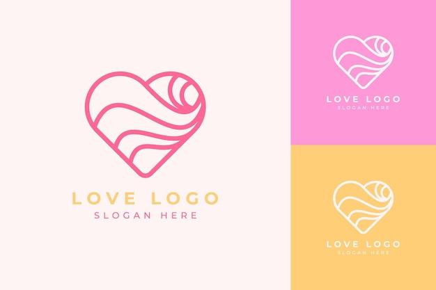 Logo design minimalista moderno amor ou arte em linha do coração