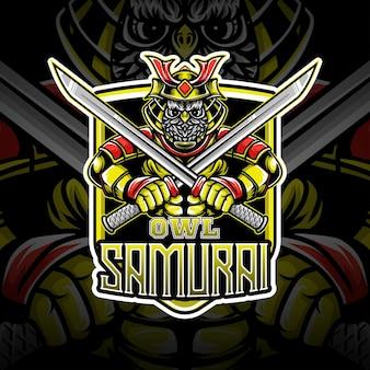 Logo esport, coruja, personagem samurai