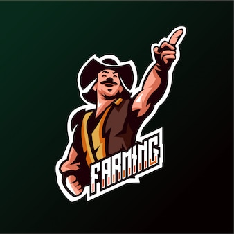 Logo farming cowboys esports jogos